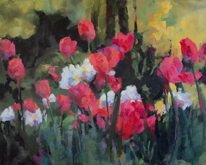 Impressionist Painting of Tulips in a Wooded Garden image 0