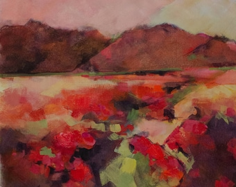 Abstract Landscape with Red Poppies and Pink HIlls