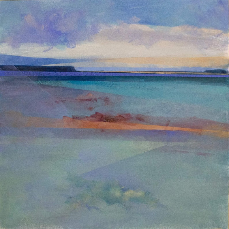 Abstract Landscape of Beach in Watercolor Style image 1