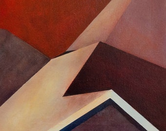 Small Abstract of Rooftops with Red Sky in Atlanta, Georgia
