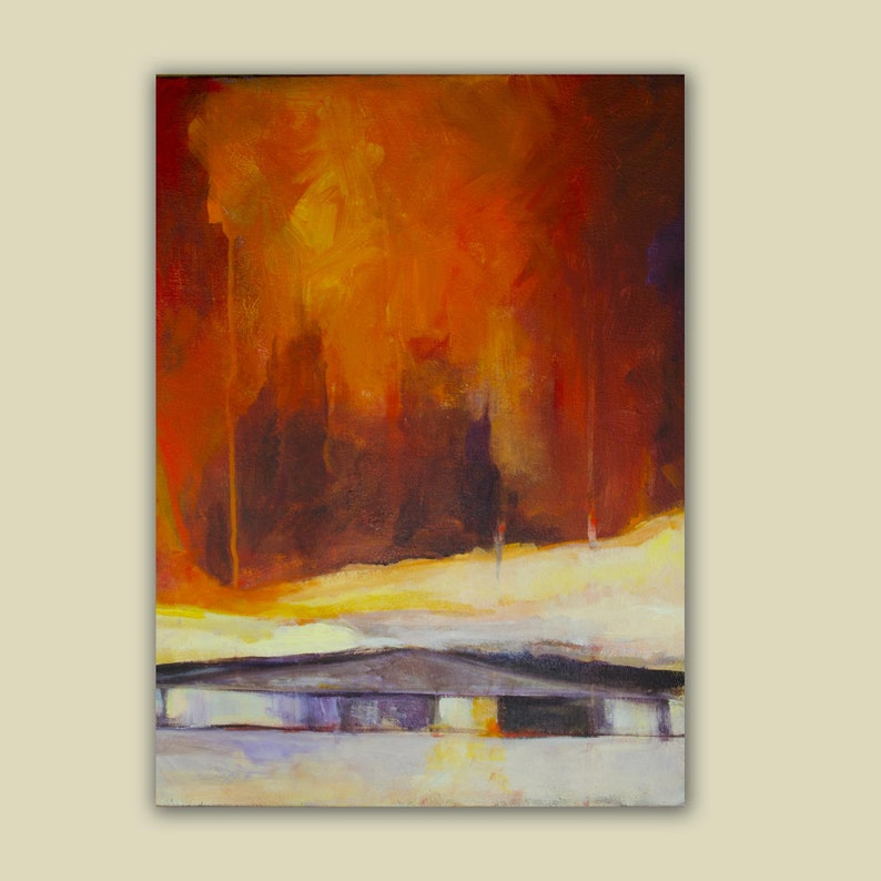 Abstract Landscape with Stormy Red Sky image 1