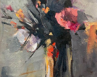 Small Painting of Flowers in a Glass Vase