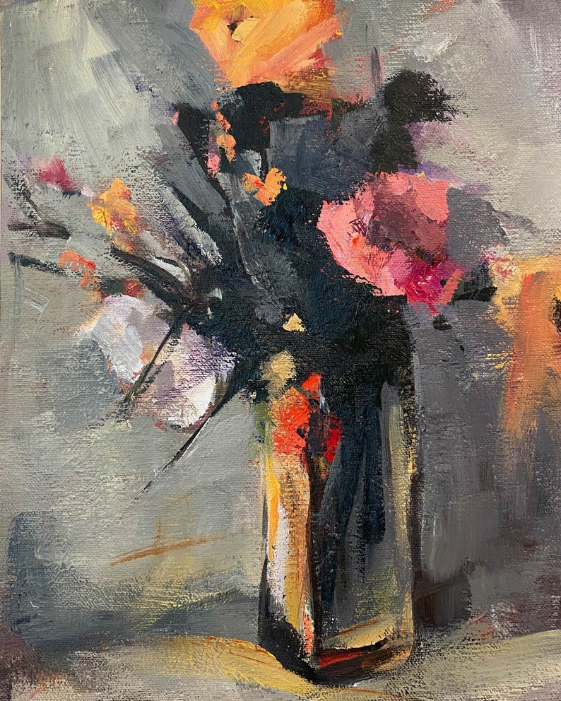 Small Painting of Flowers in a Glass Vase image 0