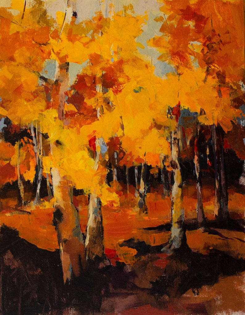 Abstracted Painting of Brilliant Yellow and Orange Fall Trees image 0
