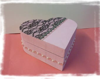 "P' little jewelry box baroque ""Heart happiness"" painted wood, brushes, clips, headbands, jewelry box or not"