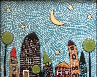 """Stained glass, mixed media, mosaic wall art named """"HOUSES"""" 55x70 cm"""