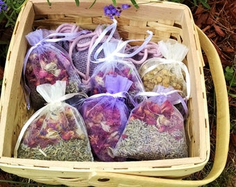 12 Botancial Sachet 3x4 Organza Favors. Lavender-Rose petal, Lavender Chamomile, Lavender-Balsam,  Rose Petals, Wildflower Herbal Potpourri