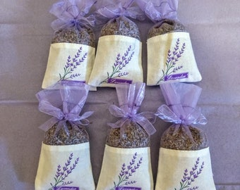 Lavender filled Sachet Bags Set of 3.  Cotton and organza with lavender flower print. Showers, Wedding, favors, gifts, Drawer Sachets