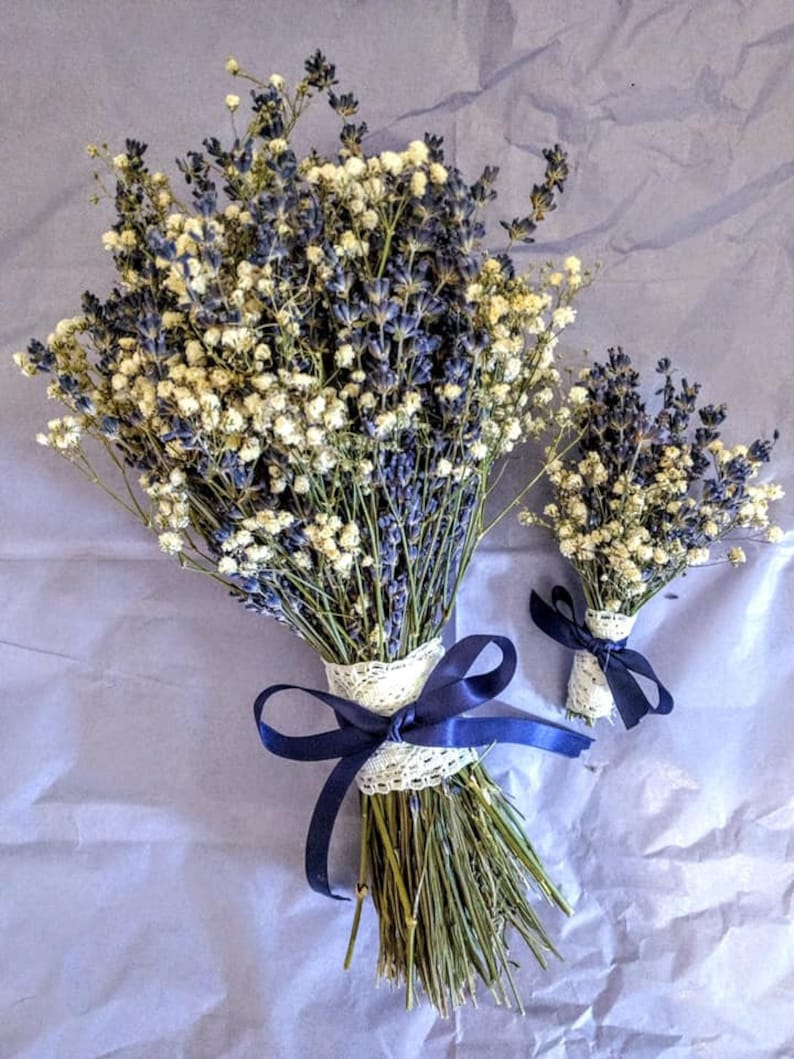 English Lavender Bouquet with Baby's Breath.  Bridal image 0