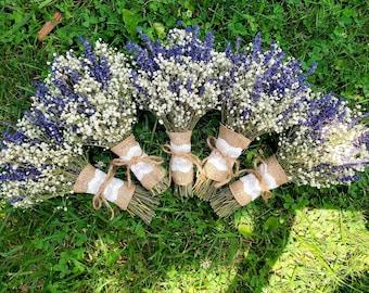 English Lavender & Baby's Breath Bouquet. Lavender Wedding Bouquet. Dried flower. Home Decor, Gifts. Keepsake bouquet