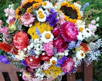 Autumn Sunset Round Bouquet.  Strawflowers, Sunflowers, lavender. Bridal Bouquet, Boutonniere