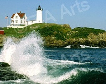 Nubble Light York Maine Splash Maine Panoramic Photography-Maine Photographer, Paul Vose-Maine Color Art Print