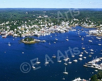Boothbay Harbor Maine Aerial View Panoramic Photography  Paul Vose-Maine Photographer MADE IN USA