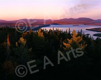 Rangeley Maine Full Moon Rising Over Rangeley Lake Maine Panoramic Photography Maine Color Art Print Maine Photographer Paul Vose