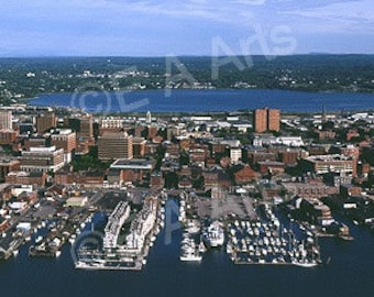 Portland Maine Aerial Panoramic Photography  Paul Vose   Coastal Maine Color  Art Print   MADE IN USA