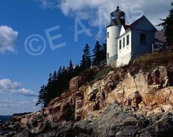 Bass Harbor Light Mt  Desert Island Maine Panoramic Photography Maine Color Art Print Maine Photographer Paul Vose