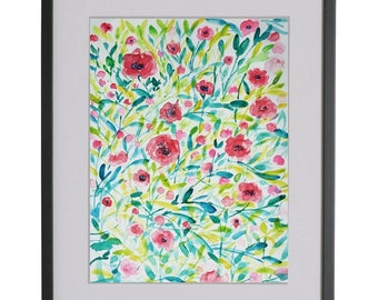 Landscape, Floral, Download Printable Wall Art Watercolor spring flowers, wild flowers Instant image Download Digital, wall art,red roses