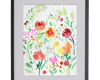 Original watercolour flower painting|watercolour| floral pattern| design|spring, landscape,Wall art,flower, home decor,roses,red,