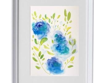 Original watercolour flower painting|watercolour| floral pattern| design|spring, landscape,flower, wall art, modern,wall hanging,,rose