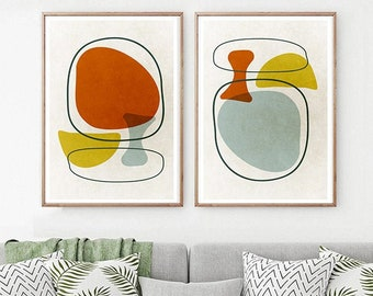 Chartreuse art Print SET of 2 Scandinavian art Mid century modern art Retro print art Eames abstract Wall decor Vintage Modern Abstract art