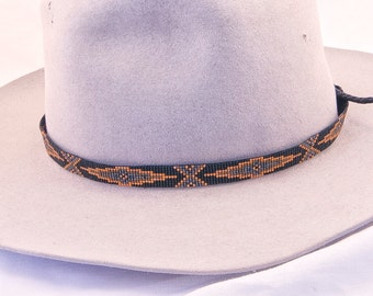 abc4a55ad19969 Geometric Design Beaded Hatband in Metallic Colors of Dark Gold, Gunmetal,  Dark Grey on a Black Background. Great for Straw and Cowboy Hats