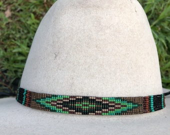 298af4f9501 Beaded Geometric Design Hatband in Earth Tones and Greens with Beaded Quill  Sections. Wonderful for Panama Straw Hats or Felt Western Hats.