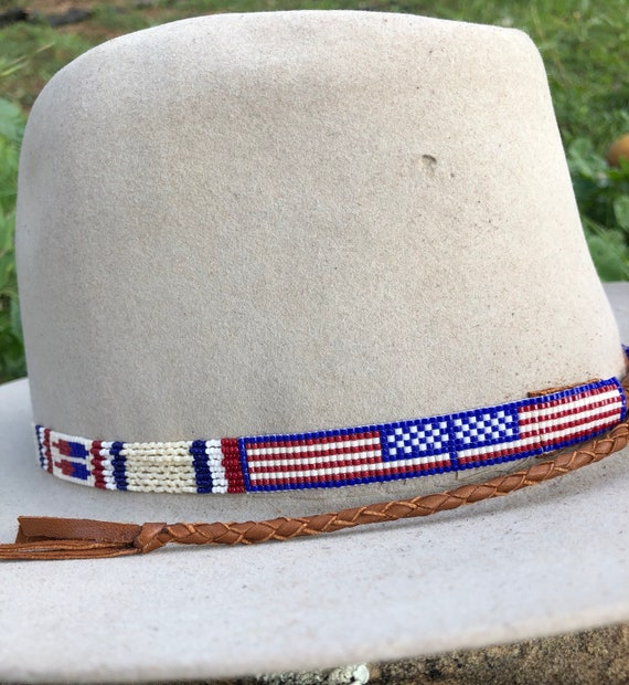 01a232802de Beaded American Flag Hatband with Beaded Quill Sections. Made