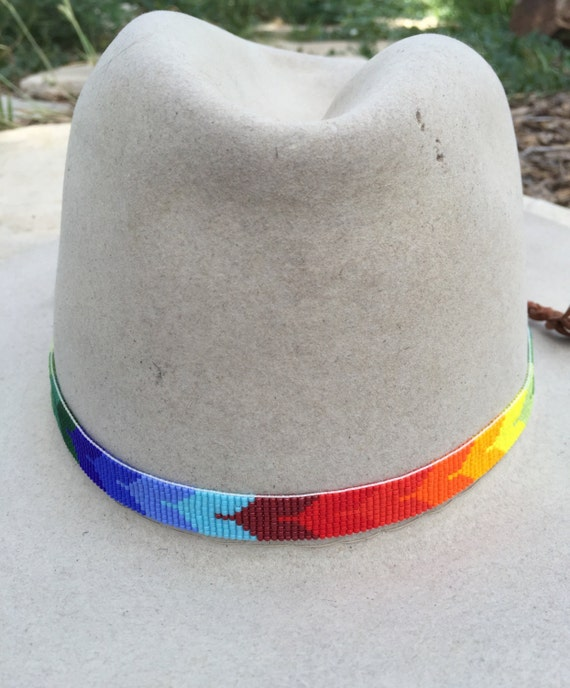89be9e22770 Beaded Bird Design Hatband in Rainbow Colors. Great for Cowboy