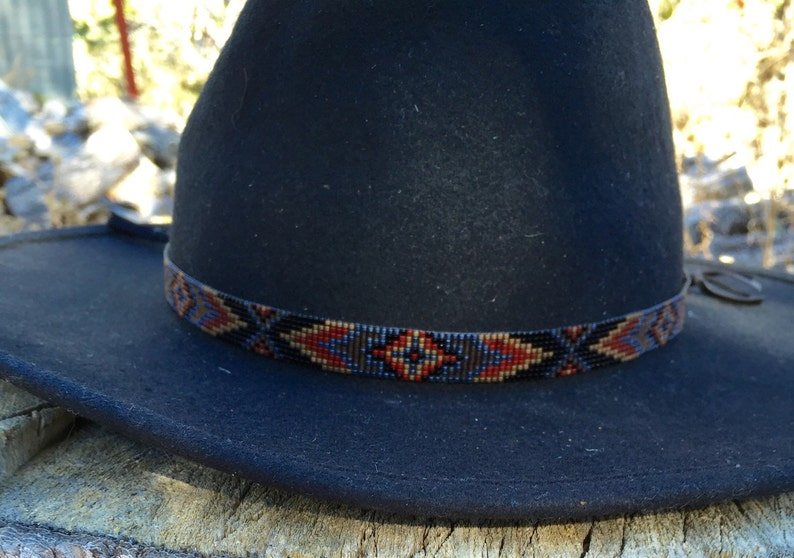 c5904fd735e Beaded Geometric Design Hatband in Neutral Tones of