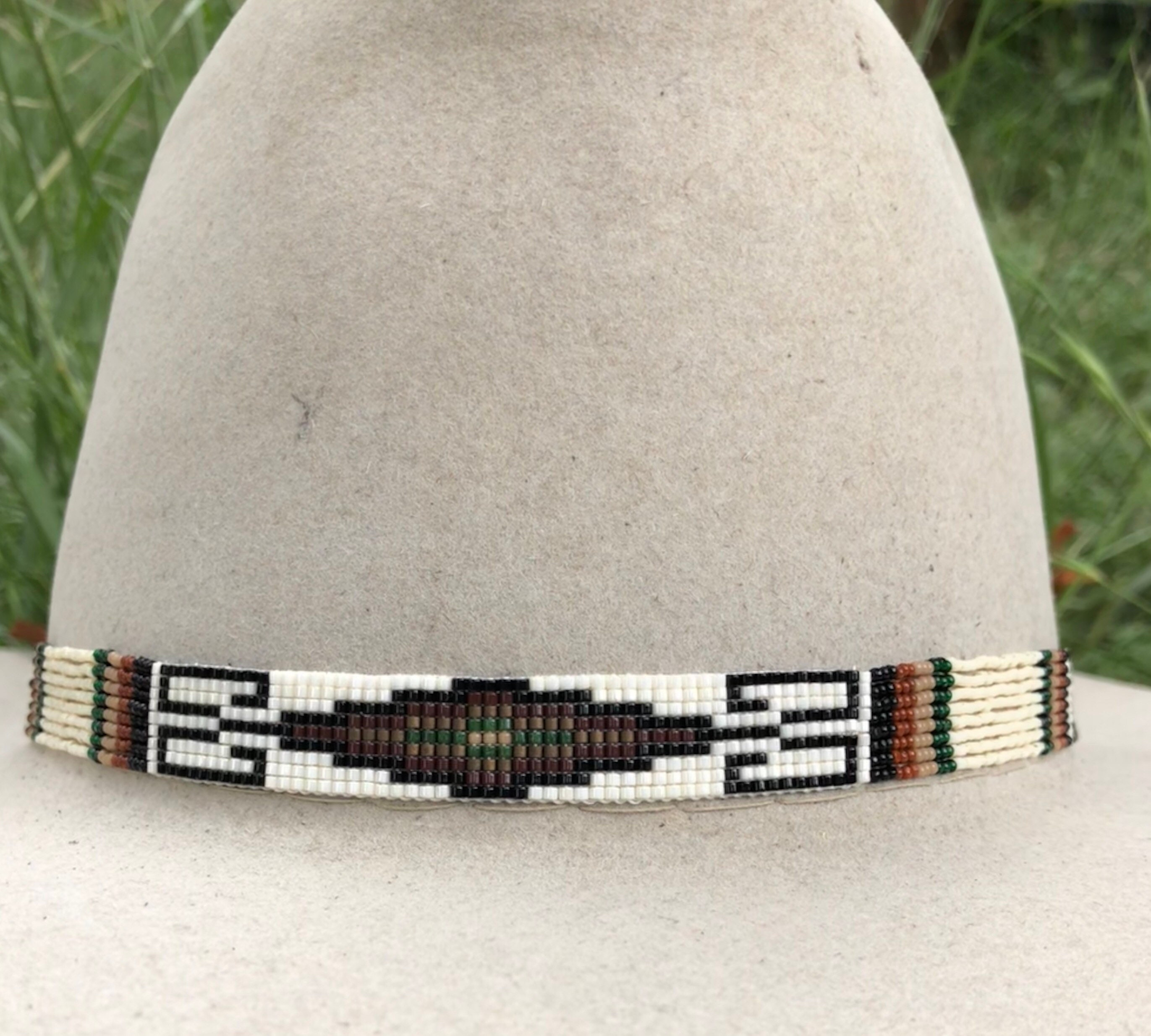 9487f59d55c Beaded Spiral Geometry Design Hatband in Neutral Tones of
