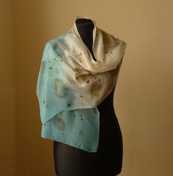 Eco foulard eco foulard en soie imprimé feuilles foulard   Etsy 1c21a3247cd5