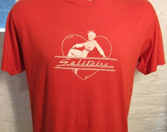 Size XL (47) ** Awesome 1970s-80s Queen Solitaire Shirt (Single Sided)