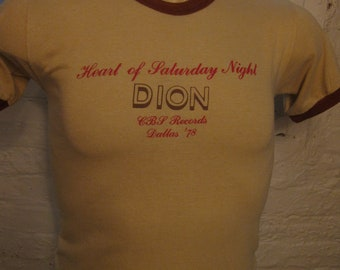 Size S (37) ** True Vintage 1978 Dion (Dion DiMucci) Heart of Saturday Night Concert Shirt (Single Sided) **