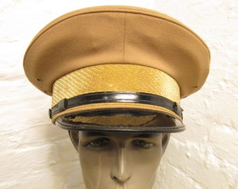 0c89e95712b1d Size 7 1 4    Cool Marlon Brando Style 1950s-60s Tan   Black Motorcycle    Work Hat