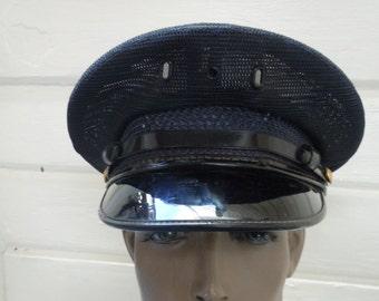 064e4c37c6658 Size 7 1 8    Cool Marlon Brando Style 1950s-60s Midnight Blue Motorcycle    Work Hat