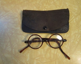 2000f4c842 Incredible 1920s Round Tortoise Shell Glasses with Original Case