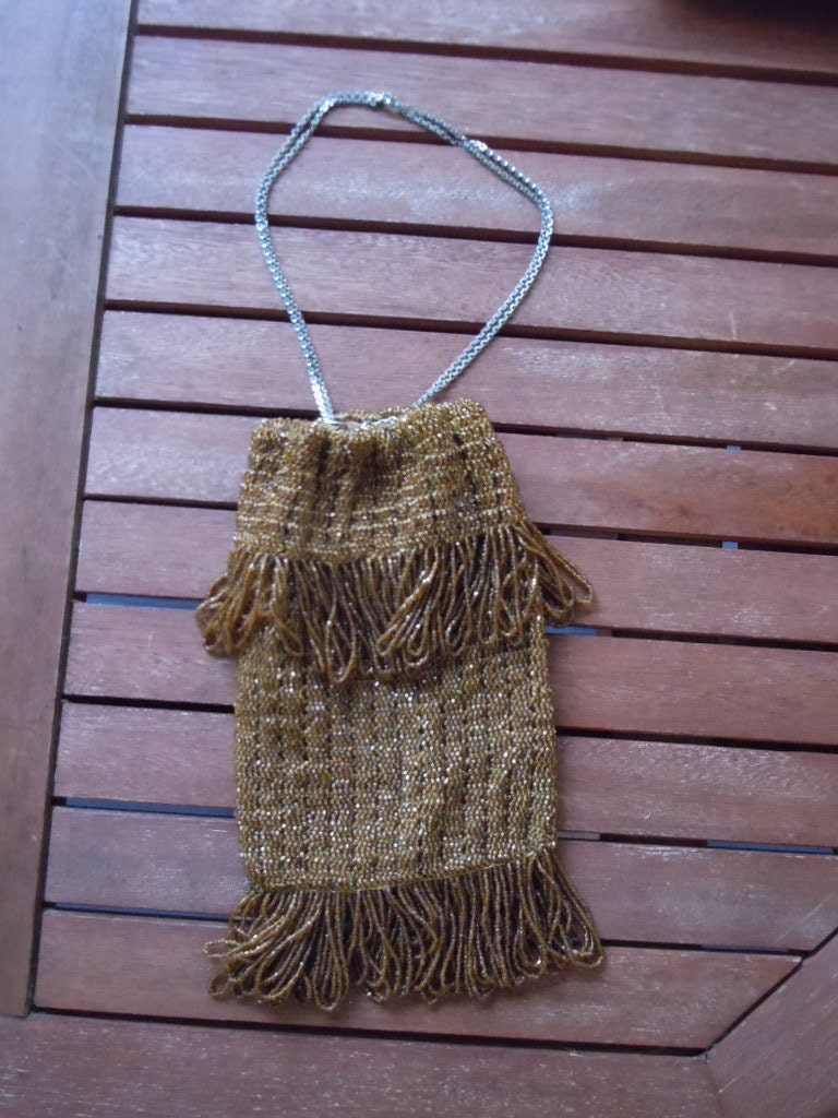 1920s Style Purses, Flapper Bags, Handbags Lovely 1920S Flapper Style Beaded Gold Purse With Crepe Silk Liner $20.00 AT vintagedancer.com
