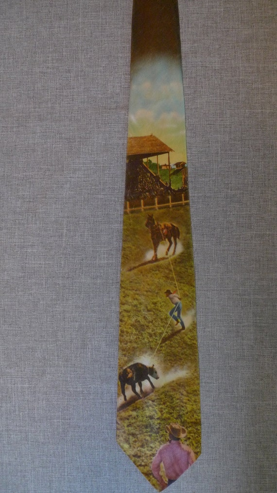 Super Cool 1940s-50s Photoprint Cowboy Rodeo Tie