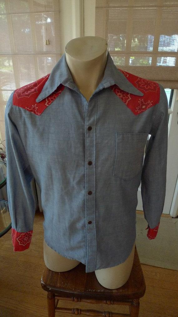 Size M (15 32-33) ** 1960s-70s Cowboy Shirt