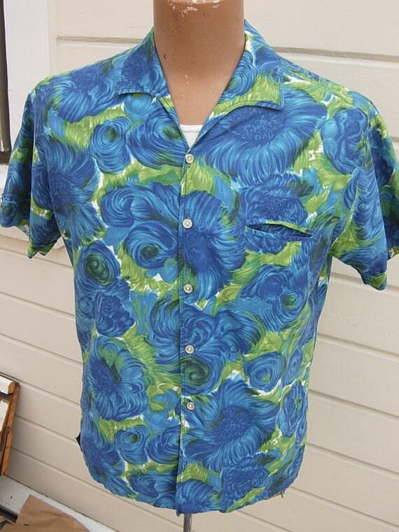 Size L (46) ** Nice 1950s Cotton Bold Aloha Shirt