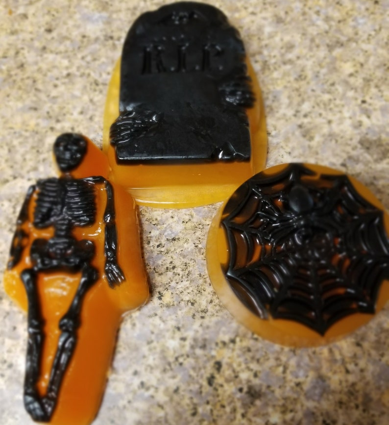 Set of three Halloween Pumpkin Spice glycerin soap for shower image 0