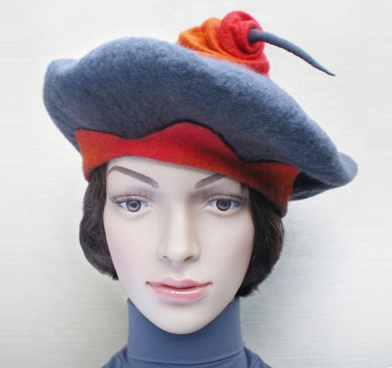 Gray and Red Winter Hat Handmade Felted Beret Hat Unusual Hats  01e9ee56d1