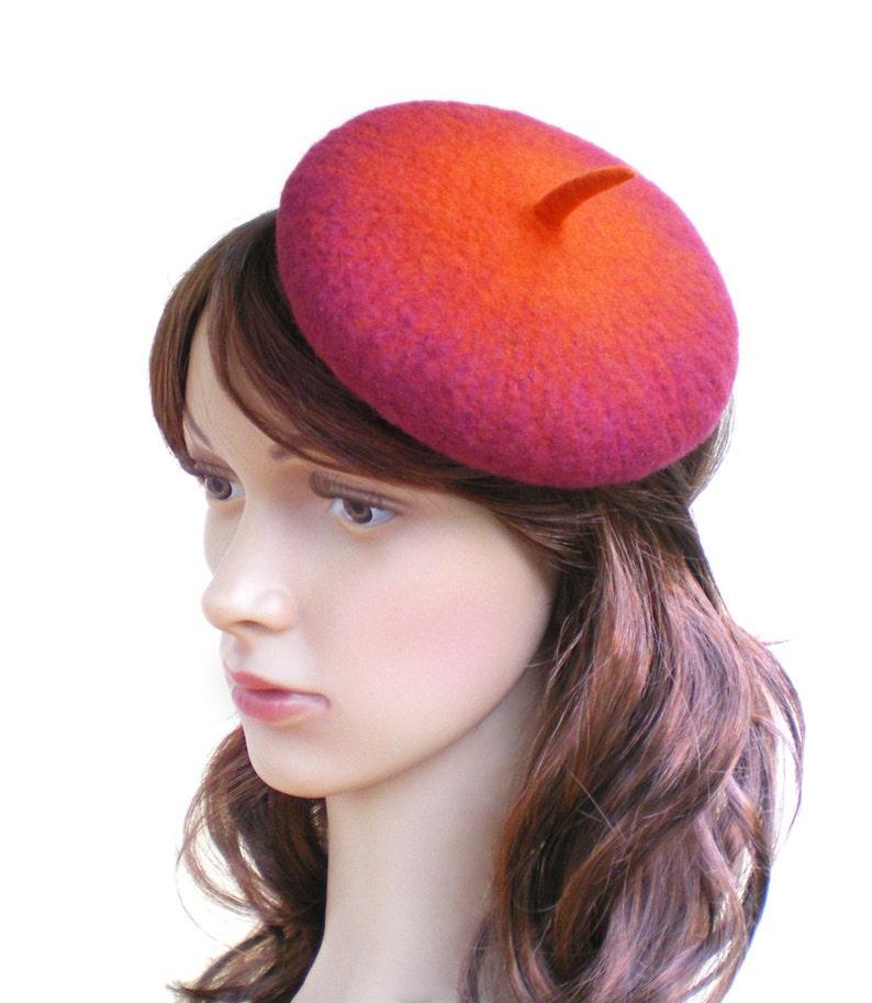 a7fbaab00a4f2 Retro Beret Hatinator Vintage Style Tea Party Hat Red Orange