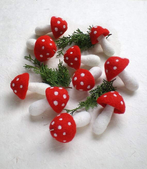 image 0 - Red Christmas Ornaments 10 Felt Mushroom Ornaments Hanging Etsy