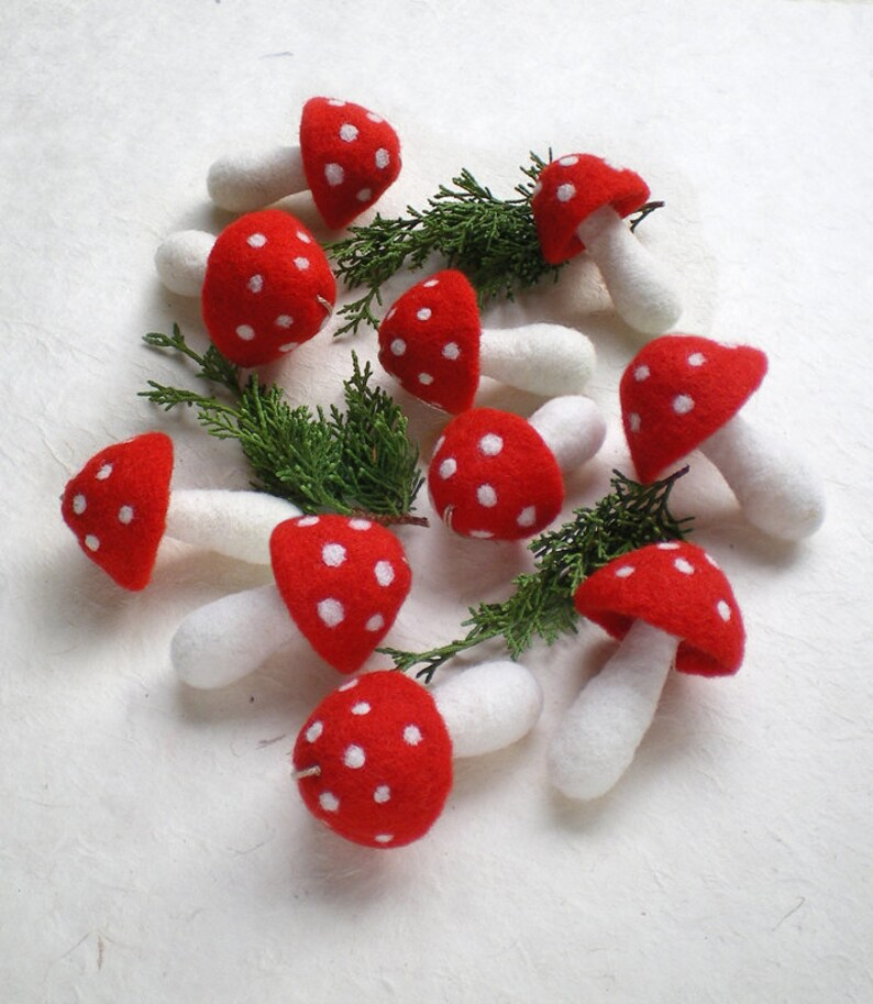 Red Christmas Ornaments 10 Felt Mushroom Ornaments Hanging Mushrooms Needle Felted Mushroom Holiday Decorations Christmas Tree Ornaments