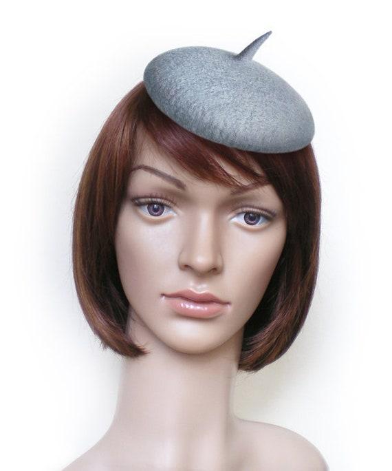 Gray Beret Fascinator Hat Mini Beret Gray Fascinator Gray  52059d80067
