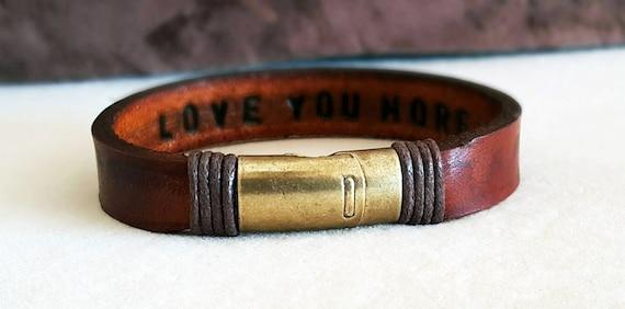 Engraved Bracelet FAST SHIPPING Bronze Clasp Bracelet Hidden Message Men/'s Bracelet Personalized Leather Bracelet Custom Leather