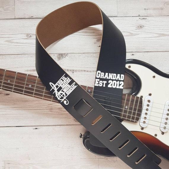 Personalised Guitar Strap Custom Rhinestone Crystal Diamante Name MUSIC GIFT