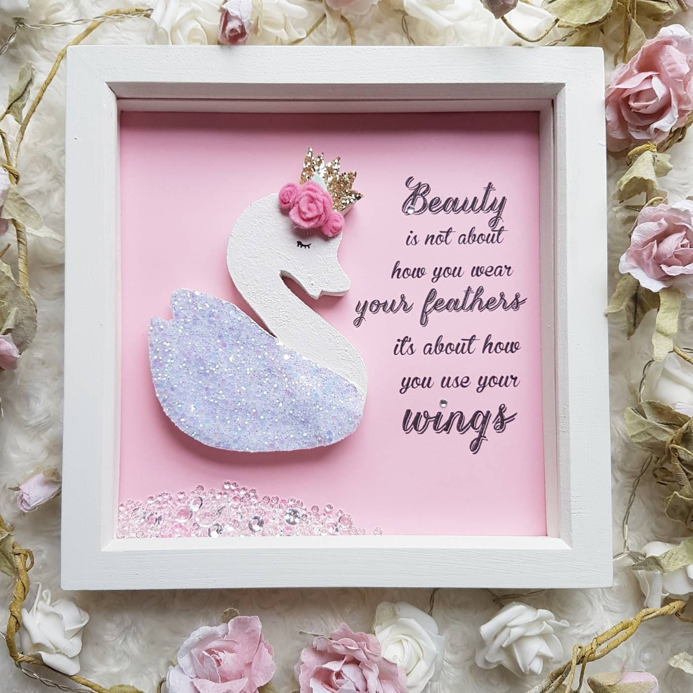 nursery frame art swan nursery decor inspirational quote | Etsy