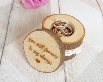 Valentines gift, wedding ring box, wooden ring box, engagement ring box, ring bearer box, engraved wooden box, rustic ring box